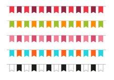 Inzameling van 5 kleurrijke partijvlaggen Stock Foto