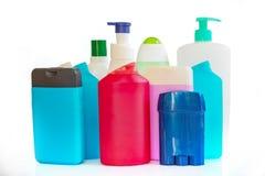 Inzameling van kleurrijke plastic flessen en containers van hygiëneproducten stock afbeelding