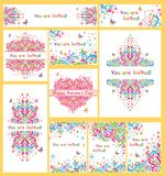 Inzameling van kleurrijke uitnodigingen voor partij royalty-vrije illustratie