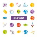 Inzameling van kleurrijke vector ruimtepictogrammen Stock Afbeeldingen