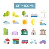 Inzameling van kleurrijke vector vlakke stadspictogrammen voor Web, druk, mobiel appsontwerp Stock Afbeelding