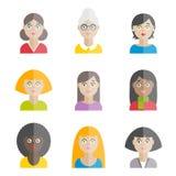 Inzameling van kleurrijke vector vlakke vrouwen` s avatars Royalty-vrije Stock Afbeelding