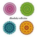 Inzameling van kleurrijke vectormandalas Stock Afbeeldingen