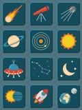 Inzameling van kleurrijke vlakke astronomie en ruimte stock illustratie