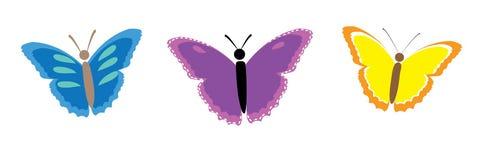 Inzameling van kleurrijke vlinders Stock Afbeelding