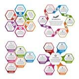 Inzameling van kleurrijke zeshoek voor infographics De elementen van het ontwerp Infographics voor bedrijfspresentaties of inform Stock Foto