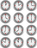 Inzameling van klokken die elk uur van de dag tonen Royalty-vrije Stock Afbeelding