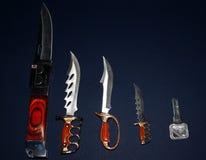 Inzameling van knifes Stock Afbeeldingen
