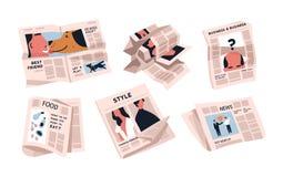 Inzameling van kranten op witte achtergrond wordt geïsoleerd die Bundel van periodieke publicaties van diverse artikelen - nieuws stock illustratie