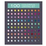 Inzameling van 100 kristallen Stock Foto's