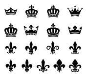 Inzameling van kroon en fleur DE lis ontwerpelementen Royalty-vrije Stock Afbeelding