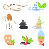 Inzameling van kuuroord, massage, wellnesspictogrammen Royalty-vrije Stock Fotografie