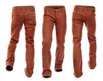 Inzameling van lege jeans in motie Stock Foto's