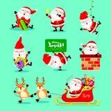Inzameling van leuk beeldverhaal Santa Claus Royalty-vrije Stock Afbeeldingen