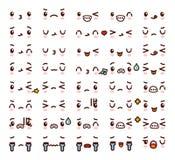 Inzameling van leuk mooi de Krabbelbeeldverhaal van kawaii emoticon emoji Stock Foto's