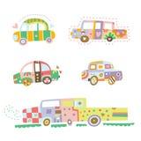 Inzameling van leuke auto's Royalty-vrije Stock Afbeeldingen