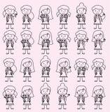 Inzameling van Leuke en Diverse Vector het Cijfer Vrouwelijke Studenten van de Formaatstok royalty-vrije illustratie