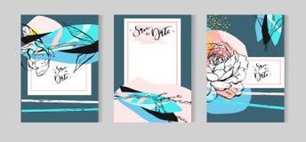 Inzameling van leuke grappige romantische kaarten Huwelijk, verjaardag, verjaardag, de dag van Valentin s, partijuitnodigingen Ge royalty-vrije illustratie