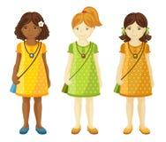 Inzameling van leuke meisjes met verschillende kapsels vector illustratie