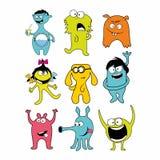 Inzameling van 9 leuke monsterskrabbel stock illustratie