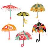 Inzameling van Leuke Paraplu's Stock Afbeeldingen