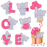 Inzameling van leuke valentijnskaartolifant Stock Afbeelding