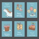 Inzameling van leuke Verjaardagskaarten vector illustratie