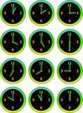 Inzameling van lichtgevend klokkenuur Stock Foto's