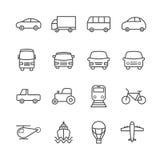 Inzameling van lineaire vervoerspictogrammen Dunne pictogrammen voor Web, mobiele apps Royalty-vrije Stock Foto's