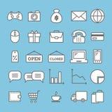 Inzameling van lineaire Webpictogrammen: zaken, media, online handel Royalty-vrije Stock Foto