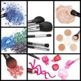 Inzameling van make-upschoonheidsmiddelen stock foto