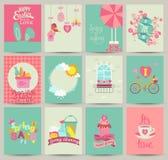 Inzameling van 12 malplaatjes van de de Lentekaart Stock Foto