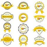 Inzameling van mangoetiketten Stock Foto