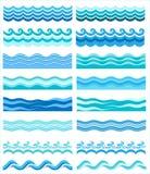 Inzameling van mariene golven, gestileerd ontwerp Stock Afbeelding