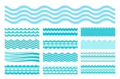 Inzameling van mariene golven Van het overzeese het golvende, oceaanontwerp kunstwater stock illustratie
