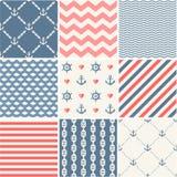 Inzameling van marine de vector naadloze patronen Royalty-vrije Stock Afbeeldingen