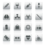 Inzameling van medische als thema gehade pictogrammen en waarschuwingsborden Stock Foto's