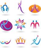 Inzameling van menselijke emblemen Stock Foto