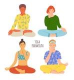 Inzameling van mensen die met gekruiste benen op vloer zitten en yoga ademhalingsoefening uitvoeren Meisjes en jongens met royalty-vrije illustratie