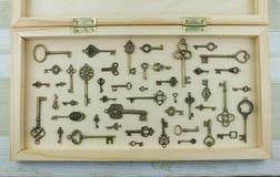 Inzameling van metaalsleutels stock foto's