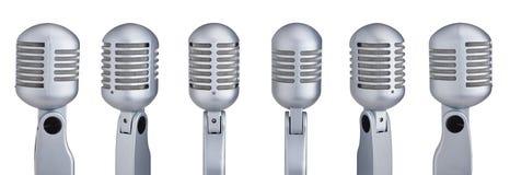 Inzameling van microfoons Stock Foto's