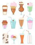 Inzameling van milkshaken met bessen, melkdranken, roomijs stock illustratie