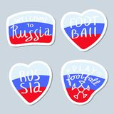 Inzameling van minimalistische stickers met Rusland en Voetbalthema stock illustratie