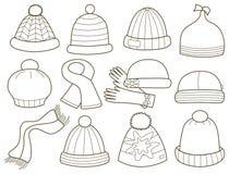 Inzameling van modieuze kappen vector illustratie
