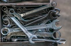 Inzameling van moersleutels of moersleutels Stock Foto