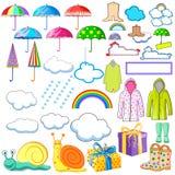 Inzameling van moesson en regenachtig dagvoorwerp met inbegrip van regenjas, paraplu, laarzen en wolk stock illustratie