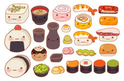 Inzameling van mooi de krabbelpictogram van het baby Japans oosters voedsel Stock Foto's