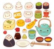 Inzameling van mooi de krabbelpictogram van het baby Japans oosters voedsel Royalty-vrije Stock Foto