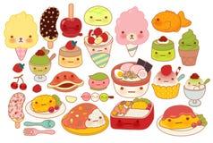 Inzameling van mooi de krabbelpictogram van het baby Japans voedsel Stock Fotografie