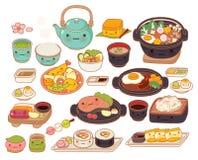 Inzameling van mooi de krabbelpictogram van het baby Japans voedsel Royalty-vrije Stock Foto's